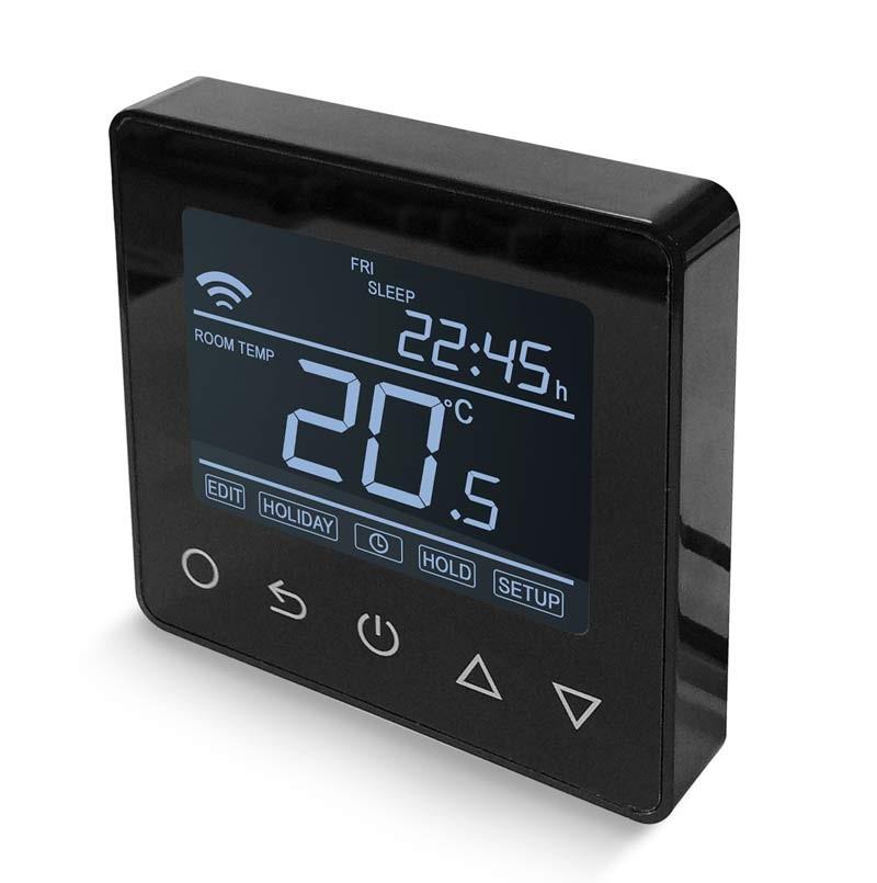ET-62 digitálny programovateľný Wifi termostat v čiernej farbe